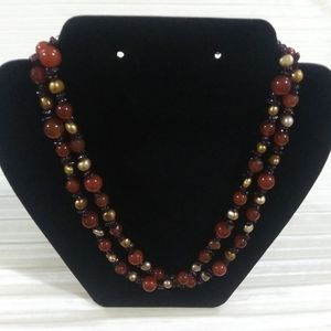 Jay King DTR Garnet, carnelian and pearl necklace